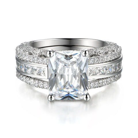 Interchangeable Created White Sapphire 925 Sterling SIlver Wedding Diamond Ring Set