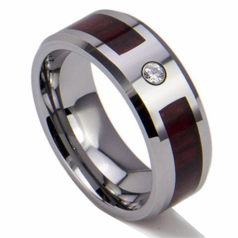 Personalized Gorgeous Wood Inlay Tungsten Ring