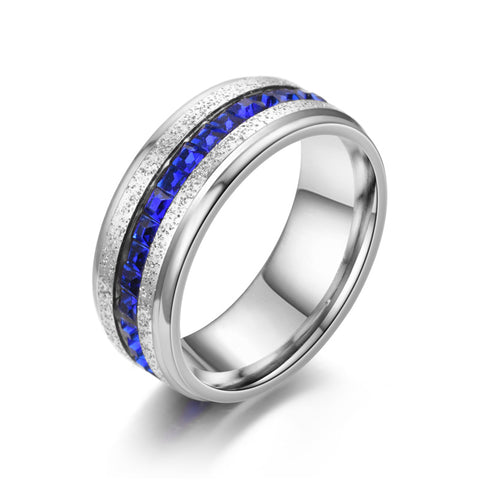 Blue Diamond Inlaid Stainless Steel Men's Ring