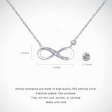 Infinity Heart Love Pendant White Gold Plated Diamond Women Necklace