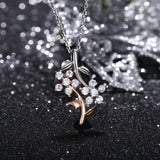 Two-Tone Leaf Shaped 925 Sterling Silver Chain Necklace for Women