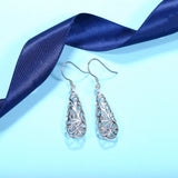 Vintage Sterling Silver Hollow Water Drop Filigree Dangle Earrings for Women