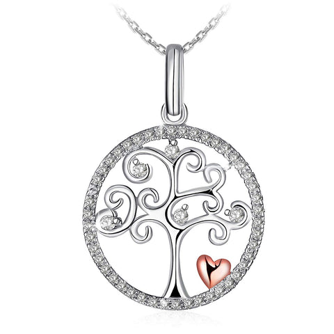 Tree of Life Sterling Silver Disc Pendant Silver Chain Necklace for Women