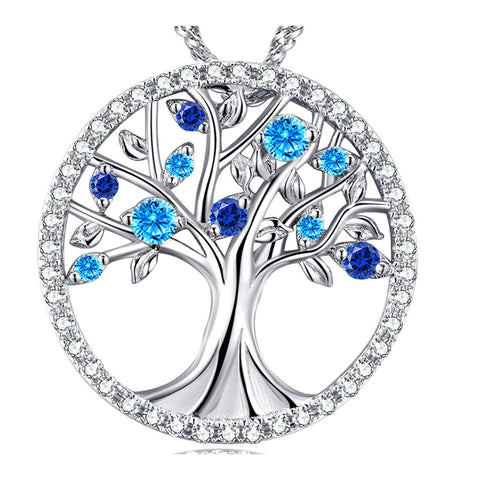 The Tree of Life March Birthstone Created Aquamarine Blue Sapphire Sterling Silver Pendant Necklace