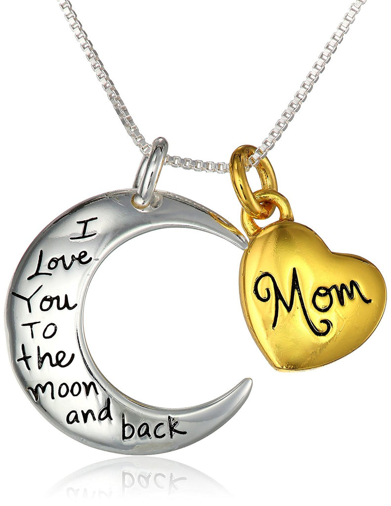 "Two-Tone Sterling Silver ""Mom I Love You To The Moon and Back"" Heart Pendant Necklace"