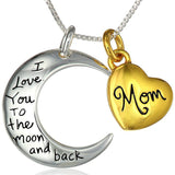 "Two-Tone 925 Sterling Silver ""Mom I Love You To The Moon and Back"" Heart Pendant Necklace"