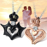 His and Hers  Stainless Steel Polished Cubic Zircon Necklace for Couples