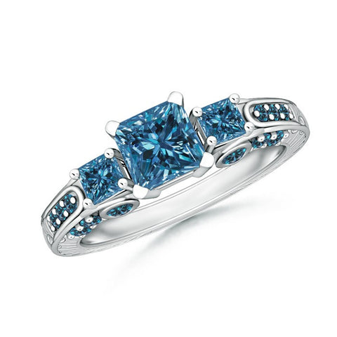 3 Stone Princess Cut Enhanced Blue Diamond Promise Ring with Diamond Accents