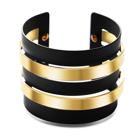 Black Gold Wider Cutout Cuff Bracelet