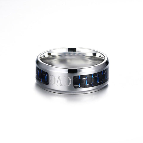 Laser | Dad/Cross/Freemasonry  High Polished Stainless Steel Carbon Fiber Unisex Ring