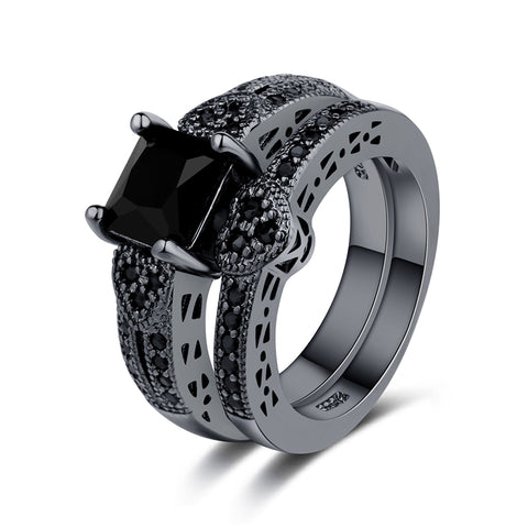 Black Square and Heart Diamond Engagement Wedding Ring Set