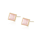 Square Cut Pink Stone Stud Earrings