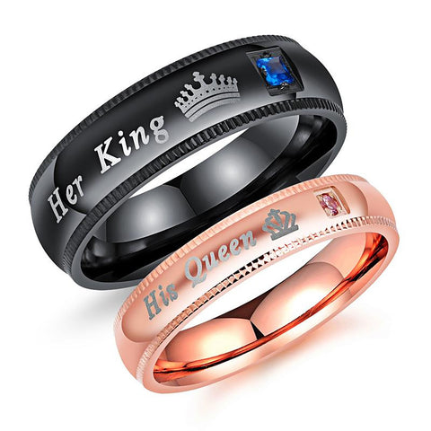 His Queen and Her King Titanium Steel Black and Rose Gold Couple Rings