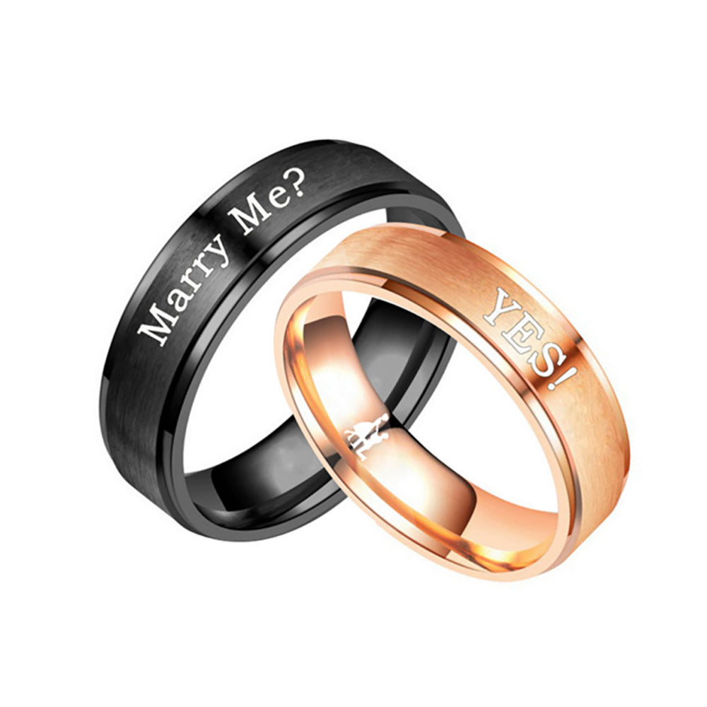 Marry Me? YES! Stainless Steel Couple Rings
