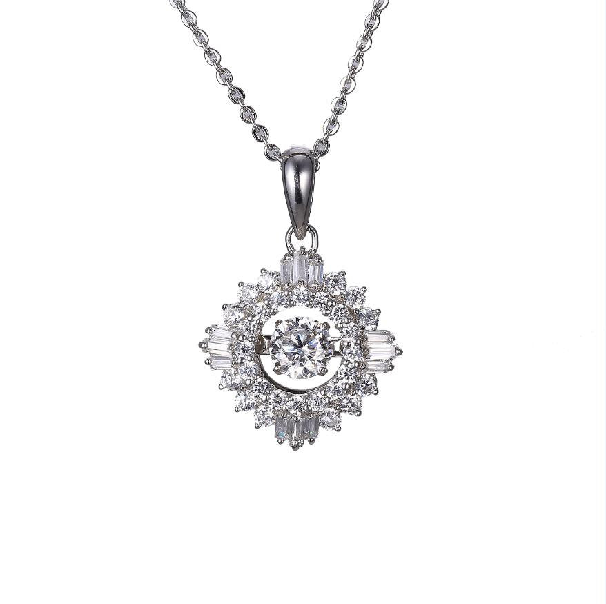 Sterling Silver Daisy Flower Dancing Diamond Pendant Necklace