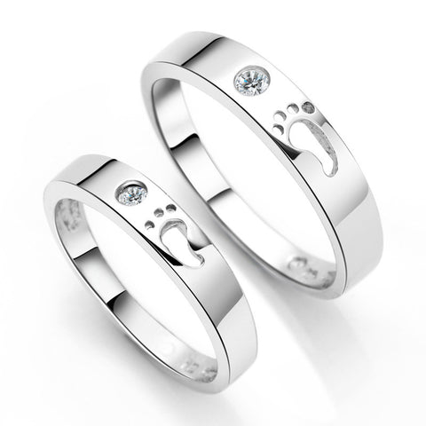 "Personalized ""The Footprints Of Love"" 925 Sterling Silver Couple Rings"