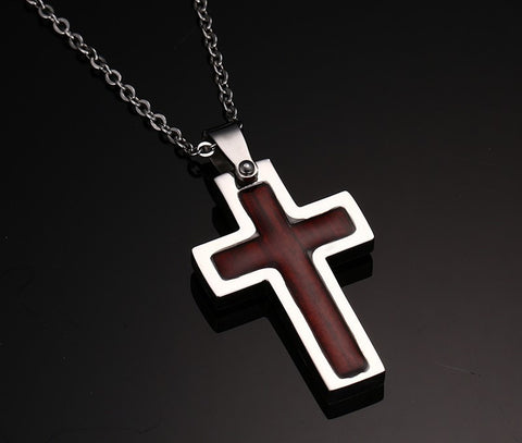 Wood Inlay Titanium Cross Pendant necklace