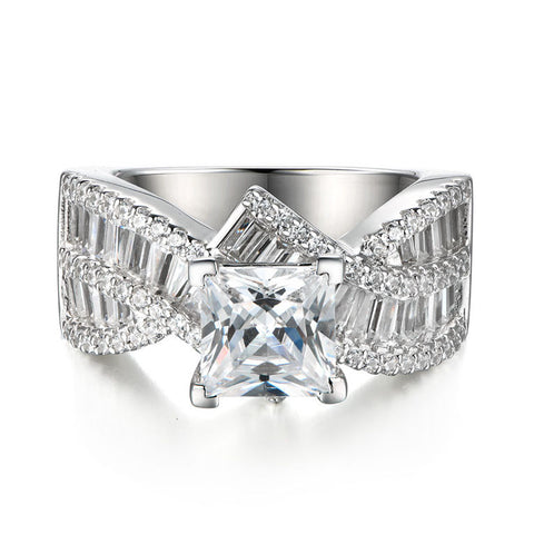 Crossover Princess Cut Created White Sapphire Engagement Wedding Ring