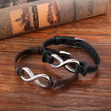 Stainless Steel Love Infinity Couples Leather Bracelet for Couples