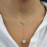 Infinity Y Style Crystal Drop in Sterling Silver Necklace