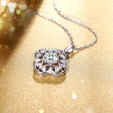 Vintage 925 Sterling Silver High Polished Cubic Zirconia Clover Flower Pendant Necklace