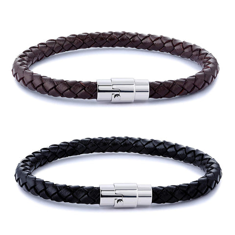 Wrist Cuff Bracelet Stainless Steel Braided Leather Bracelet for Men Women