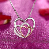 Triple Heart Fashion Drop 925 Sterling Silver Necklace