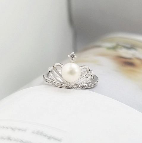 Crown Shaped With Pearl Inlaid 925 Sterling Silver Engagement Ring