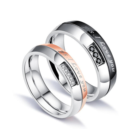 P.S. I Love You| Rose Gold and Black Zircon Inlaid Stainless Steel Couple Rings