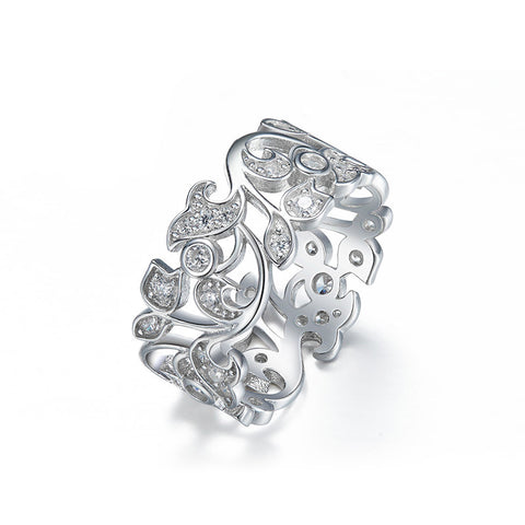 Floral Shaped 925 Sterling Silver Engagement Ring