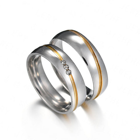 Forever Love Zircon Inlaid Stainless Steel Couple Rings
