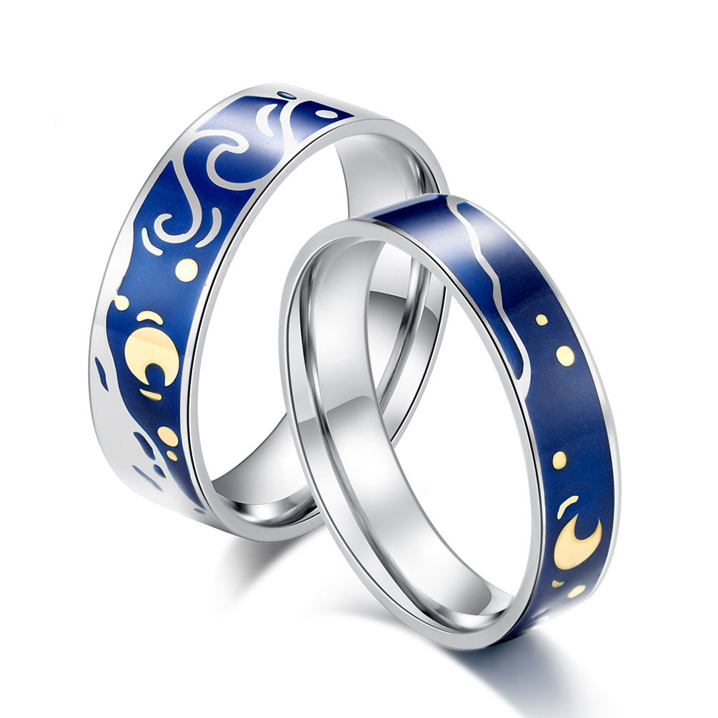 Starry Night Titanium Steel Couple Rings