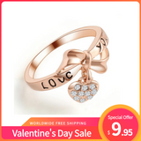 Valentine's Day Sale Bowknot And Crystal Heart Women's Ring