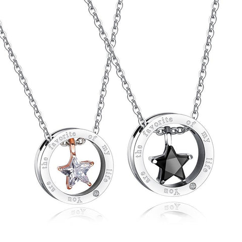 The Favorite of My Life Titanium Steel Couple Necklace