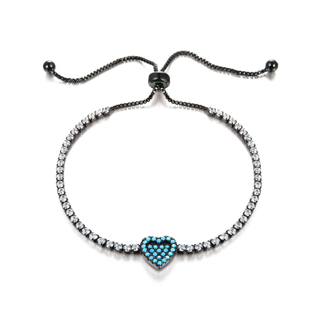 Blue Heart Inlaid CZ Bracelet