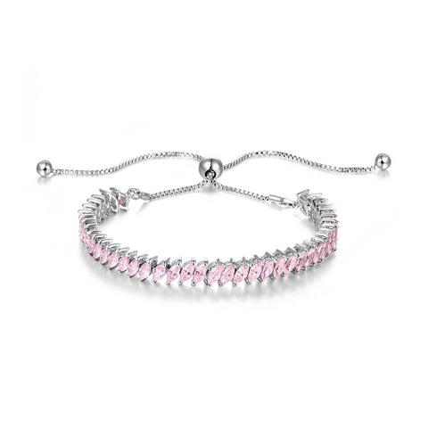 Inlaid Marquise Pink CZ Bracelet