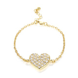 Inlaid Rhinestone Heart Gold Bracelet