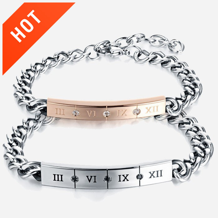 JewelryWe Free Engraving Mens Womens Couples Stainless Steel Bracelets, Classic Roman Numerals Numbers Cuff Bangles