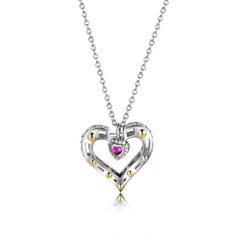 Cubic Zirconia Inlaid Double Hollowed Heart Shaped 925 Sterling Silver Pendent Necklace