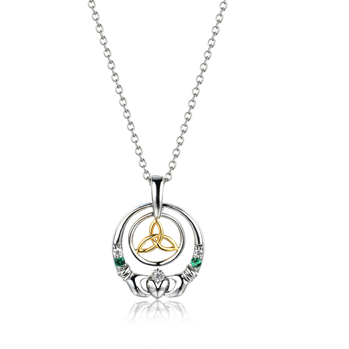 necklace p stone claddagh dancing