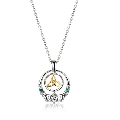 Claddagh Design Pendant 925 Sterling Silver Cubic Zirconia Women's Necklace