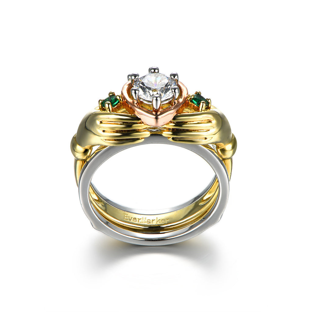 unique design 925 sterling silver cz inlaid claddagh ring