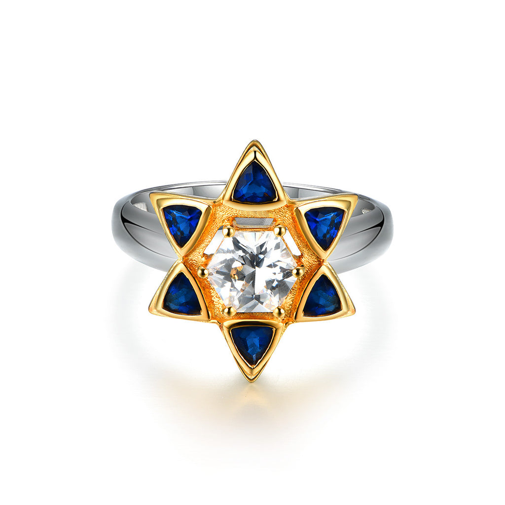 """Star of David"" Hexagram Cubic Zirconia 925 Sterling Silver Women's Ring"