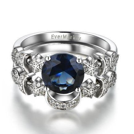 Magic Moon and Star CZ Inlaid 925 Sterling Silver Women's Ring Set