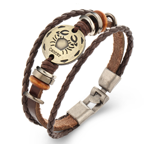 Cancer Multi-layer Weave Leather Bracelets