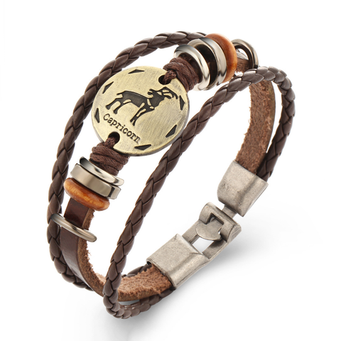 Capricorn Multi-layer Weave Leather Bracelets