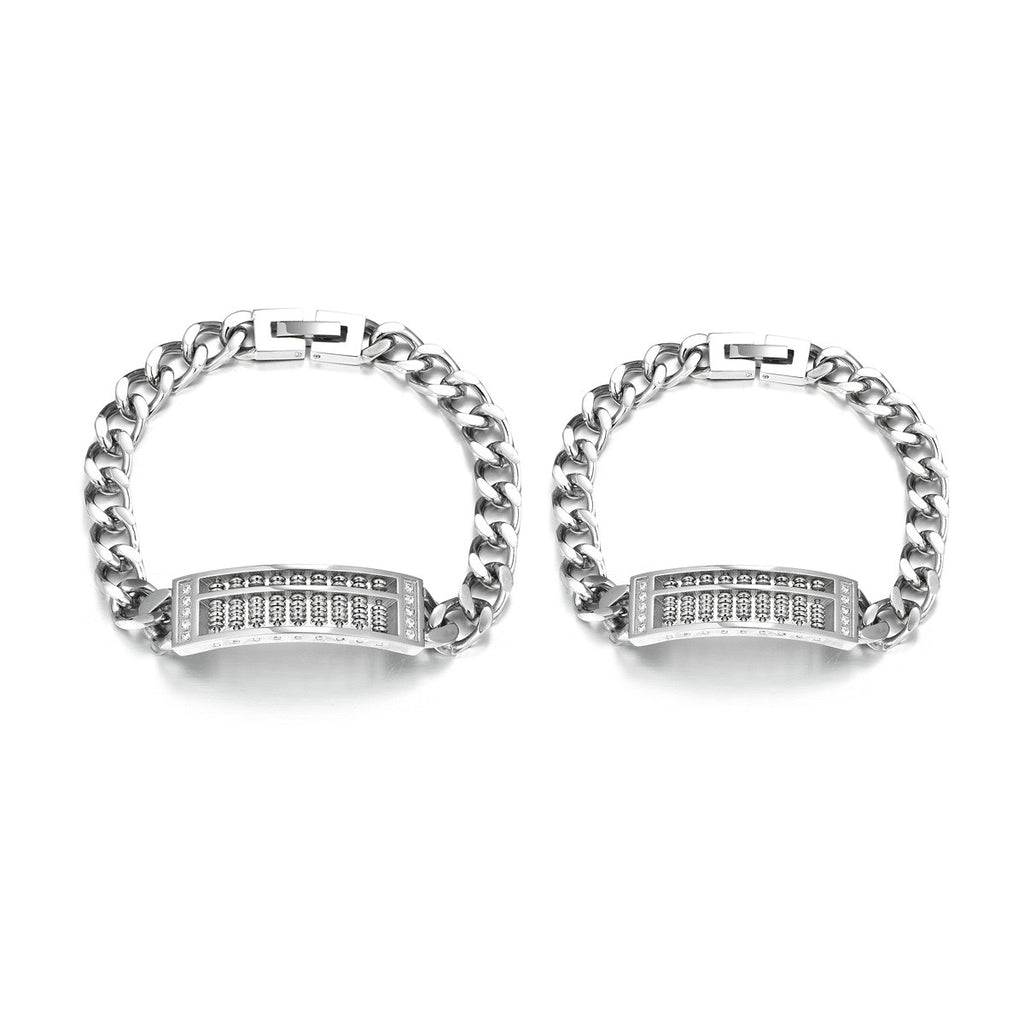Personalized Oriental Style Hollow Out  Abacus Special Design Titanium Steel Couple Bracelets