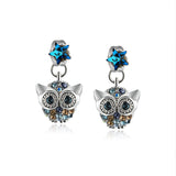 Cartoon Owl and Star Pattern with Rhinestones Earrings
