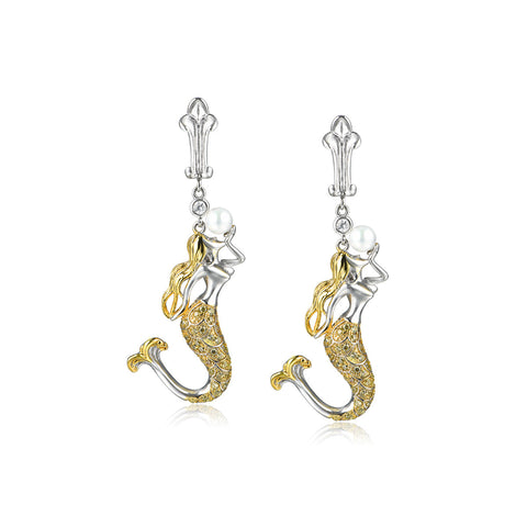 Women Elegent Mermaid Design 925 Sterling Silver Drop Earrings