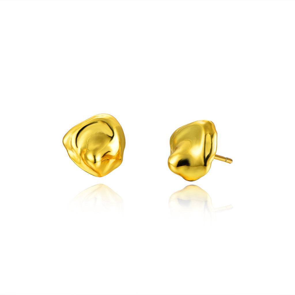 Waterdrops 925 Sterling Silver Gold Plated Stud Earrings